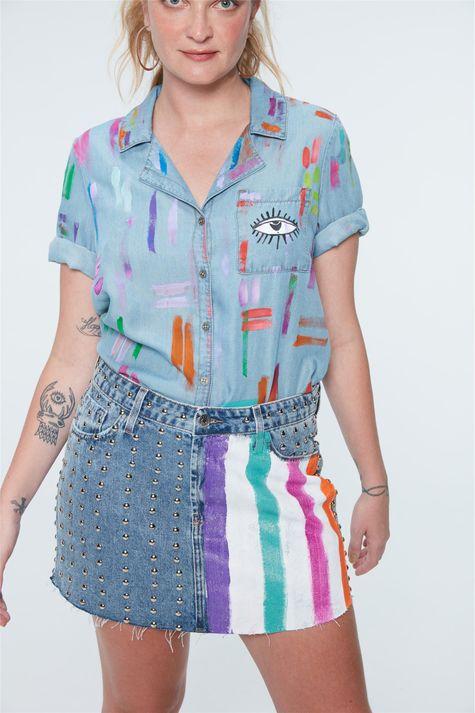 Saia-Jeans-Mini-com-Tachas-Recollect-Frente--