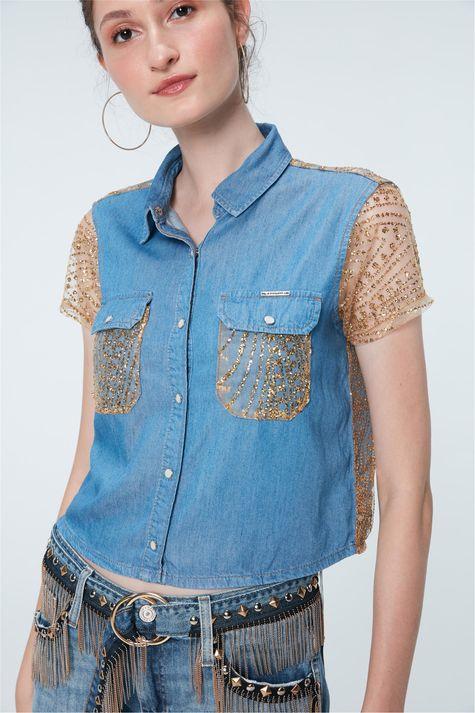 Camisa-Jeans-Paete-Dourado-Recollect-Frente--
