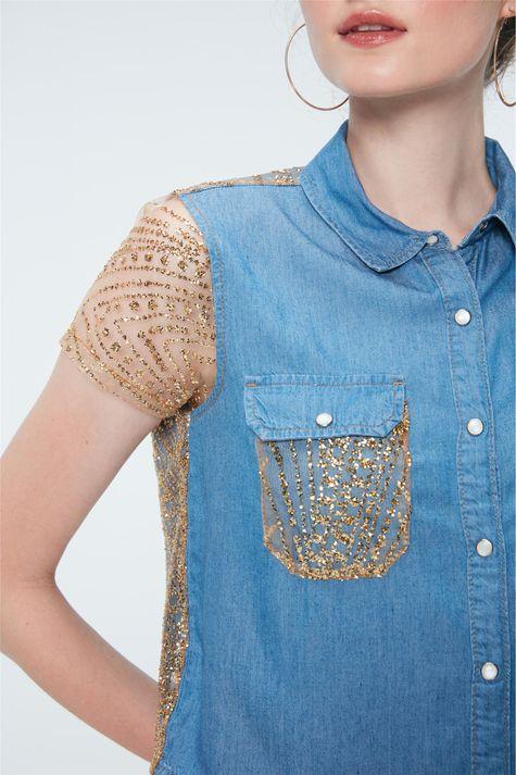 Camisa-Jeans-Paete-Dourado-Recollect-Detalhe--