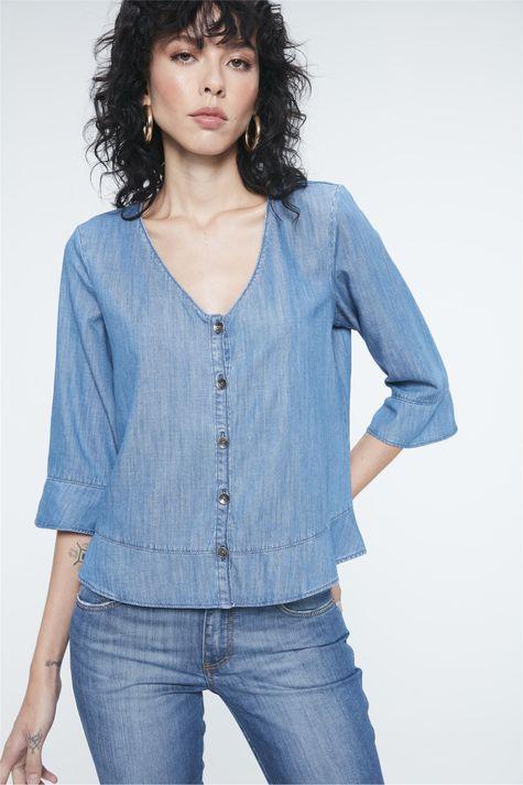 Blusa-Jeans-com-Abotoamento-Feminina-Frente--