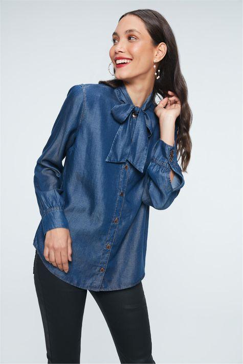 Camisa-Jeans-com-Gola-Laco-Feminina-Frente--