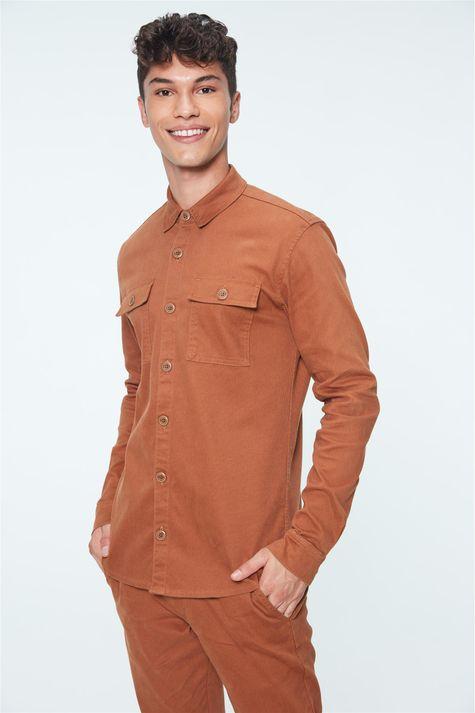 Camisa-Canelada-Marrom-Masculina-Detalhe--