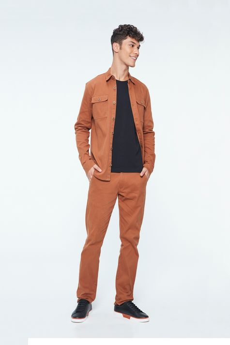 Camisa-Canelada-Marrom-Masculina-Detalhe-1--