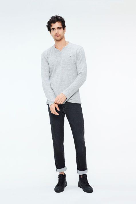 Camiseta-de-Trico-Cinza-Masculina-Detalhe-1--