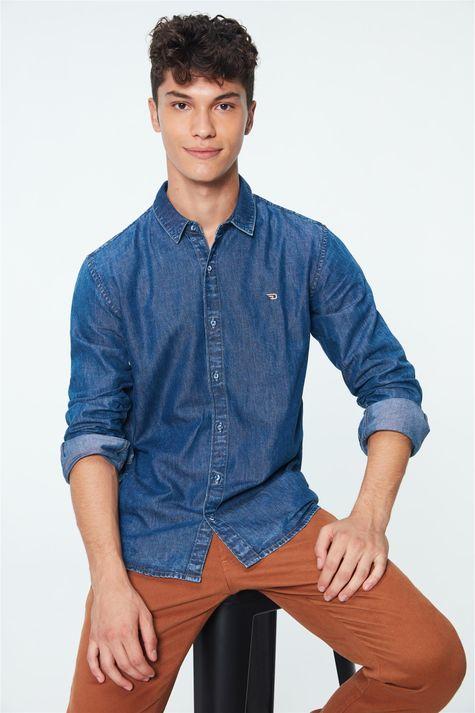 Camisa-Jeans-Azul-Medio-Masculina-Frente--