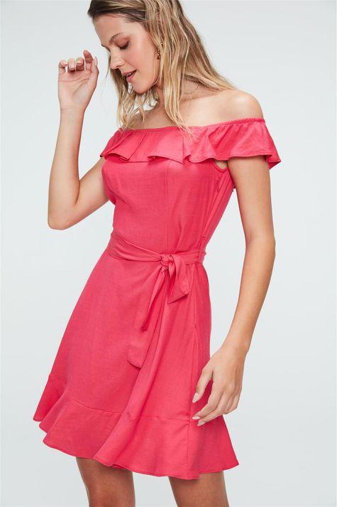Vestido-Medio-com-Babados-Rosa-Frente--