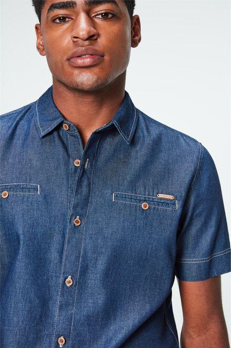 Camisa-Jeans-Azul-Escuro-Masculina-Detalhe--