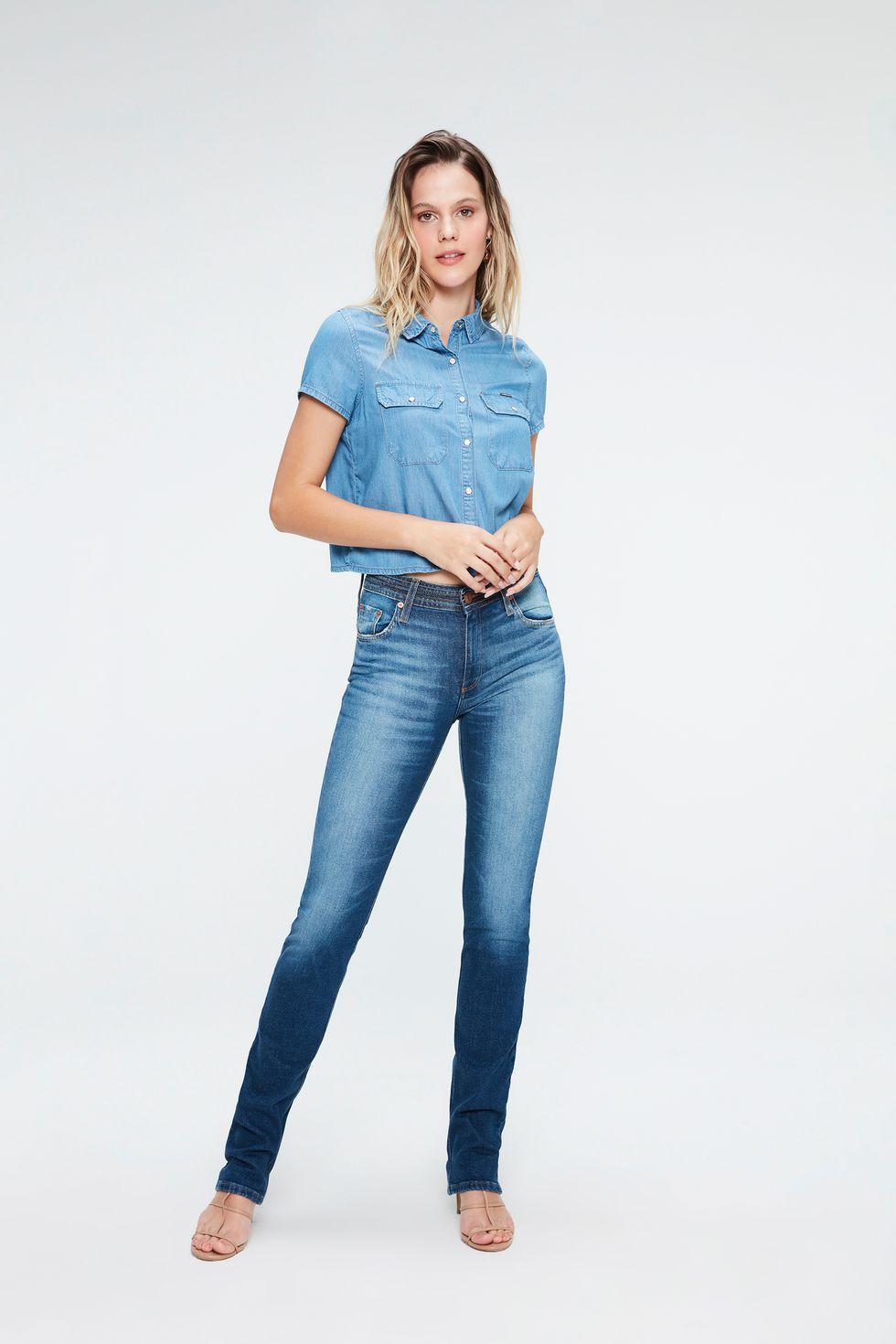 Calça Jeans Reta Feminina Tam: 40 / Cor: MEDIA