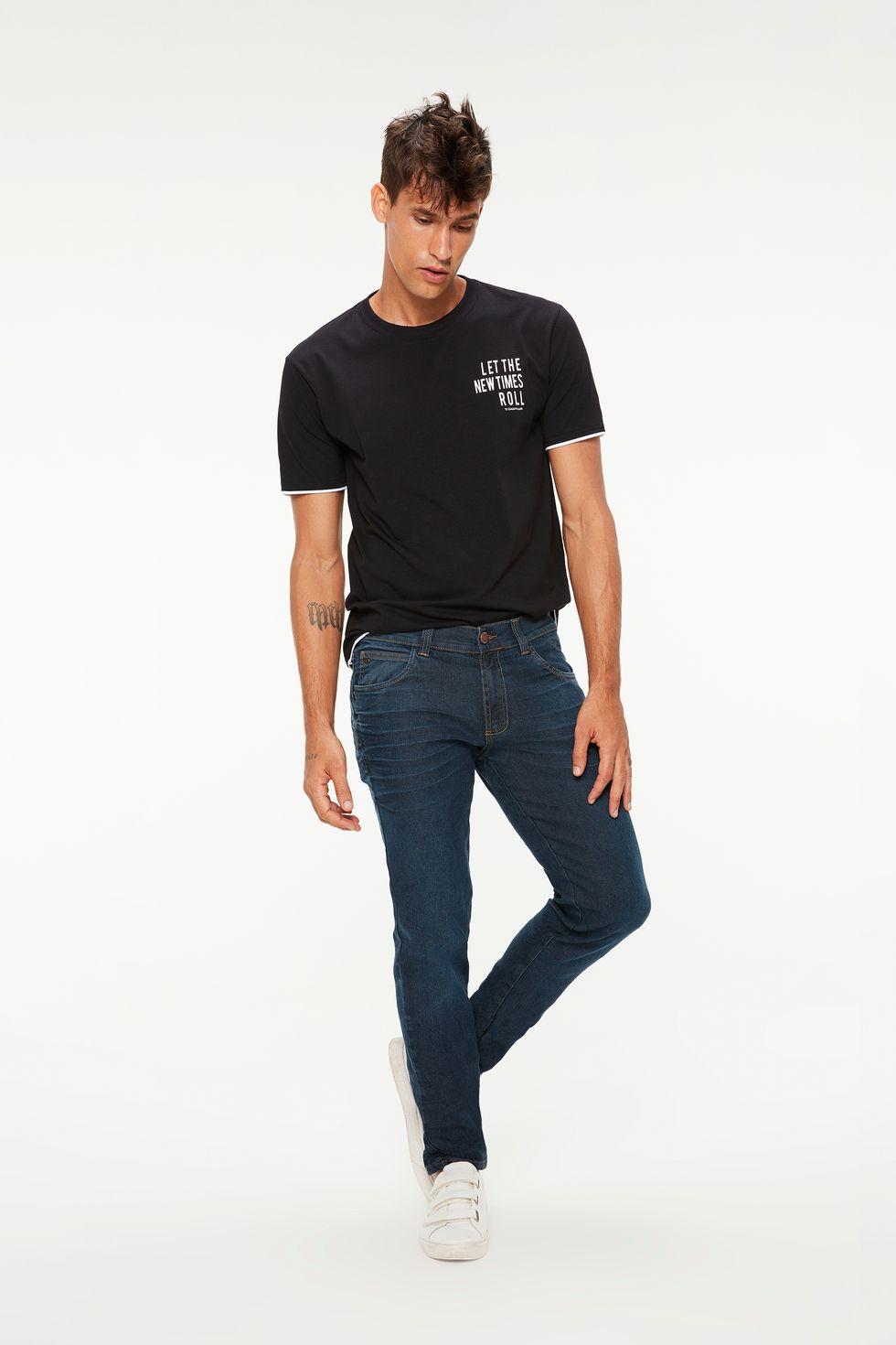 Calça Jeans Skinny Marcações Leves Tam: 36 / Cor: ESCURA