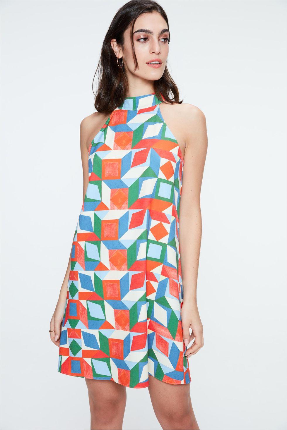 Vestido-Mini-Estampa-Geometrica-Colorida-Frente--