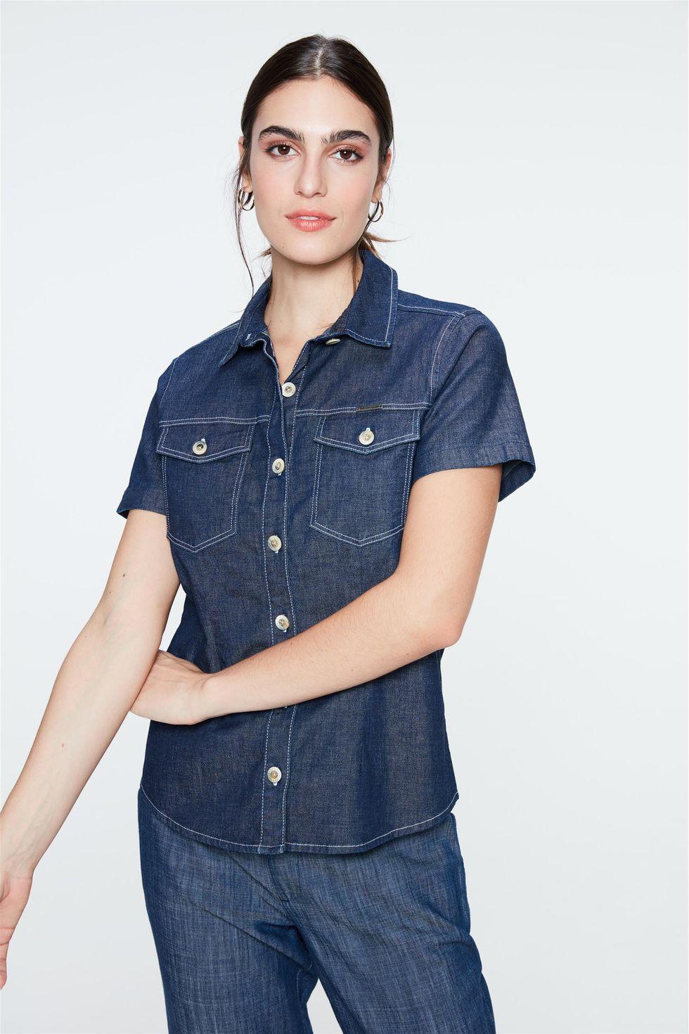 Camisa-Jeans-Azul-Escuro-de-Manga-Curta-Frente--