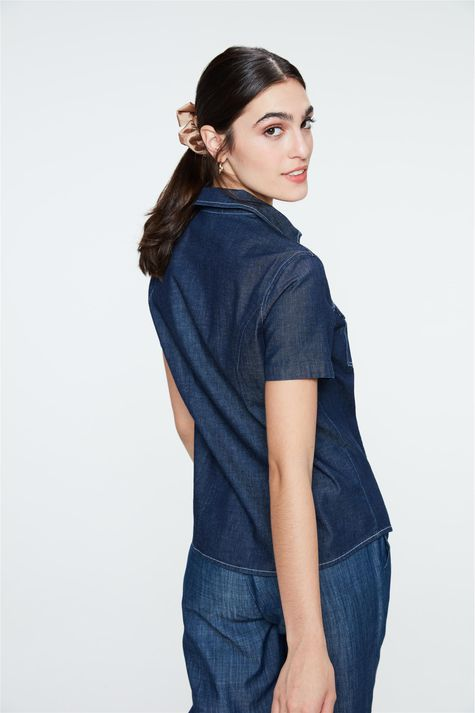 Camisa-Jeans-Azul-Escuro-de-Manga-Curta-Costas--