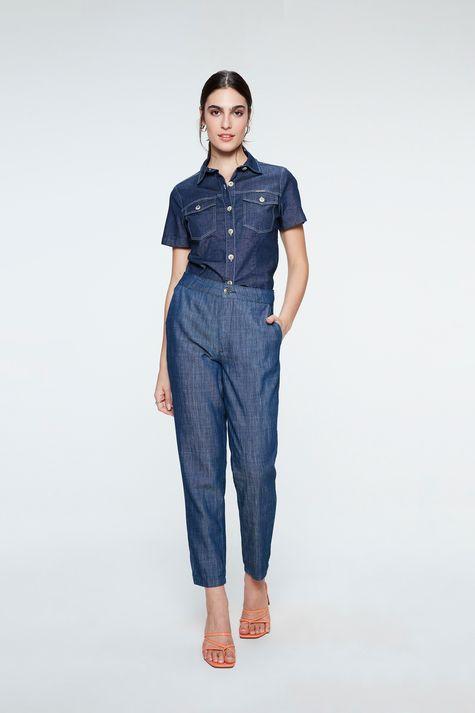 Camisa-Jeans-Azul-Escuro-de-Manga-Curta-Detalhe-1--