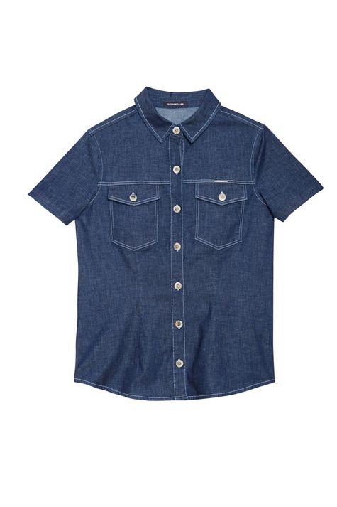 Camisa-Jeans-Azul-Escuro-de-Manga-Curta-Detalhe-Still--
