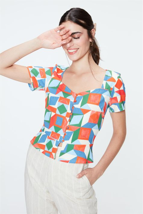 Blusa-de-Botoes-com-Estampa-Geometrica-Frente--