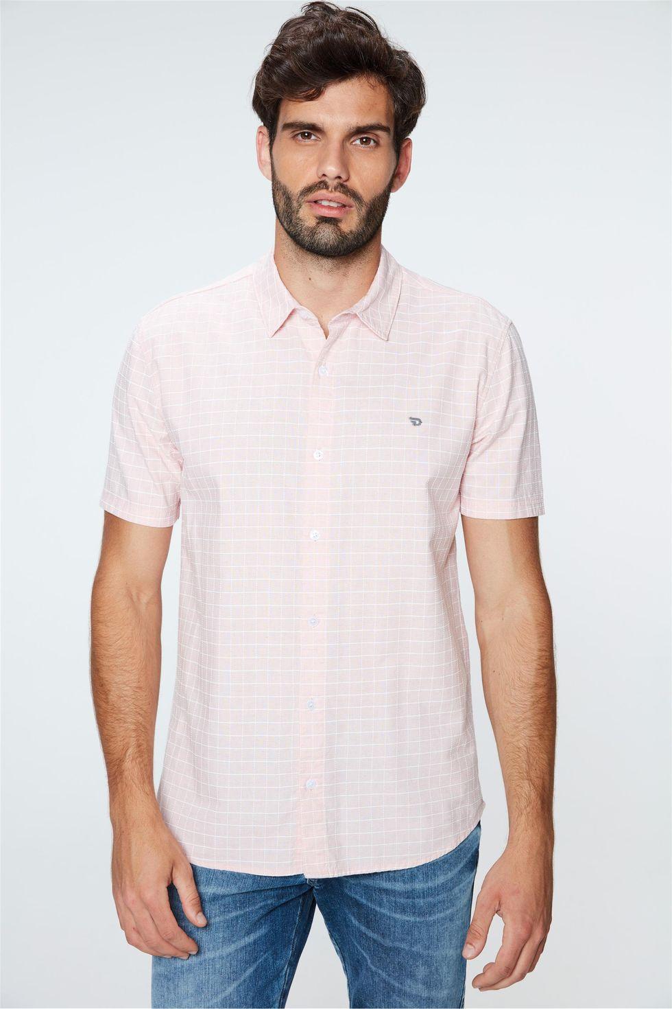 Camisa-de-Manga-Curta-Xadrez-Masculina-Frente--
