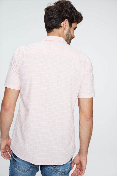 Camisa-de-Manga-Curta-Xadrez-Masculina-Costas--