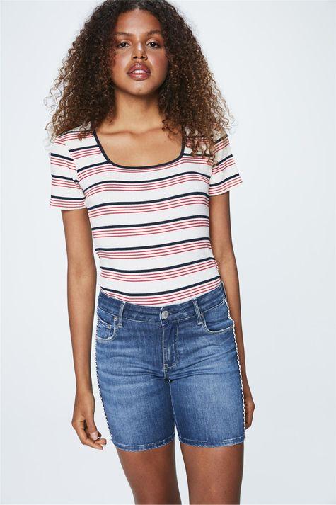 Bermuda-Jeans-Escuro-Justa-Feminina-Costas--