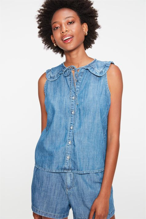 Camisa-Jeans-sem-Mangas-com-Babado-Detalhe--