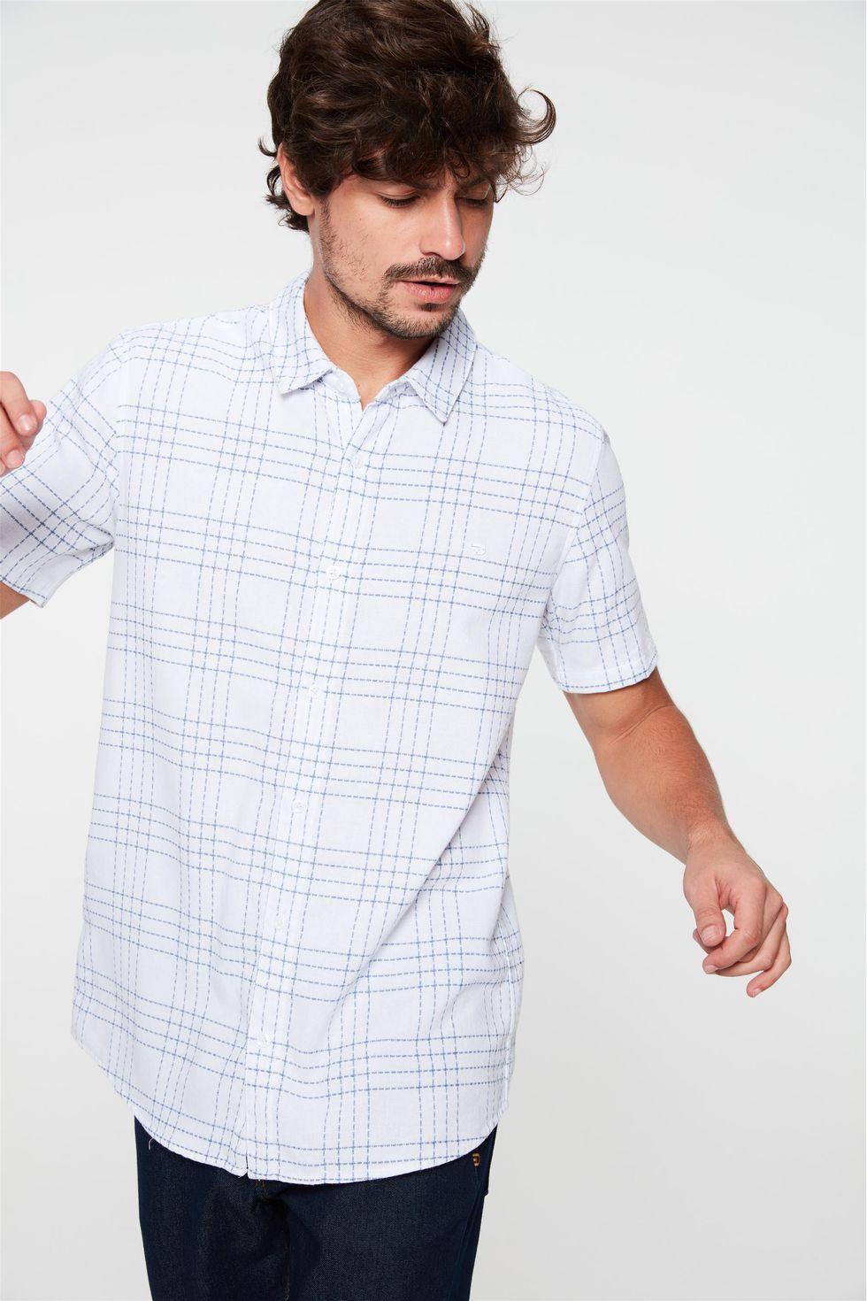Camisa-de-Manga-Curta-Estampa-Xadrez-Frente--
