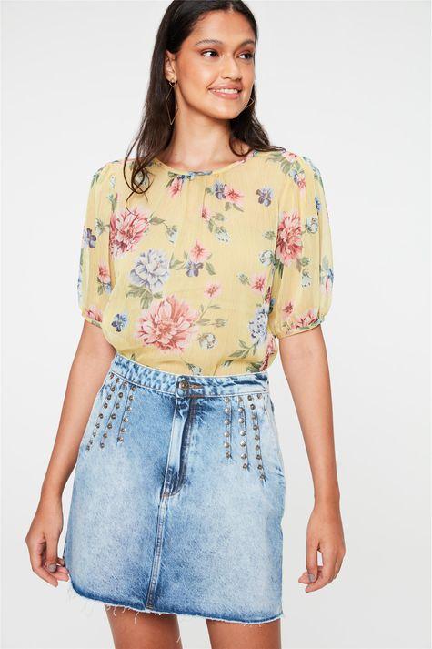 Saia-Jeans-Mini-com-Pregas-e-Rebites-Frente--