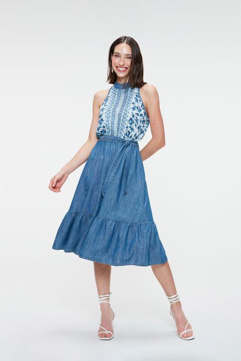 Vestido-Jeans-Midi-com-Estampa-Floral-Frente--