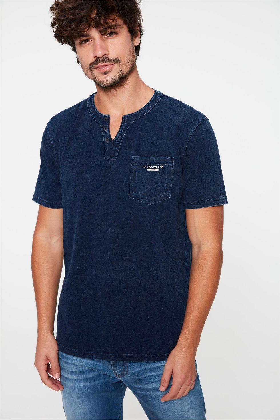 Camiseta-Henley-de-Malha-Denim-Masculina-Frente--