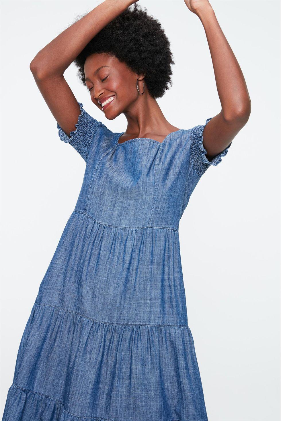 Vestido-Midi-Jeans-com-Recortes-e-Lastex-Frente--