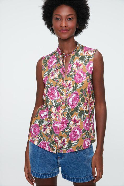 Camisa-sem-Mangas-Estampa-Floral-Rosa-Frente--