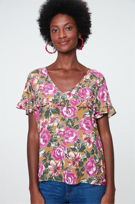 Blusa-Decote-V-com-Estampa-Floral-Rosa-Detalhe--