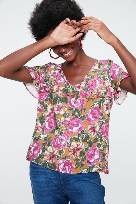 Blusa-Decote-V-com-Estampa-Floral-Rosa-Frente--