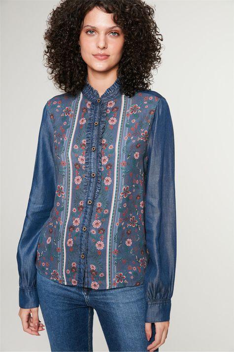 Camisa-Jeans-com-Estampa-Floral-Feminina-Frente--