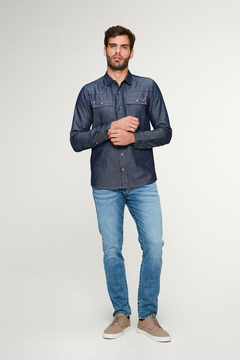 Camisa-Jeans-Azul-Escuro-Masculina-Detalhe-2--