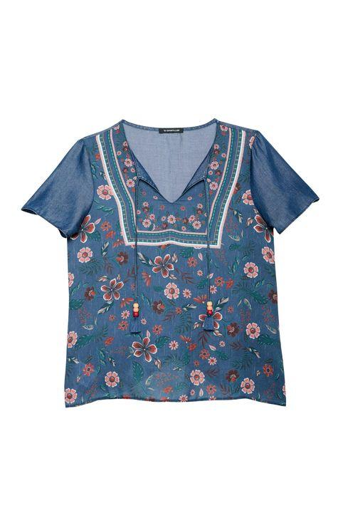 Blusa-Jeans-Manga-Curta-e-Estampa-Floral-Detalhe-Still--