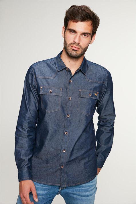 Camisa-Jeans-Azul-Escuro-Masculina-Frente--