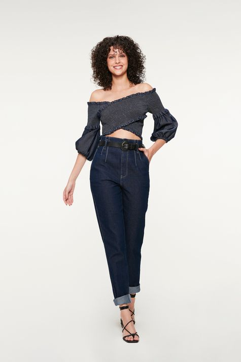 Blusa-Jeans-Transpassada-com-Lastex-Detalhe-1--