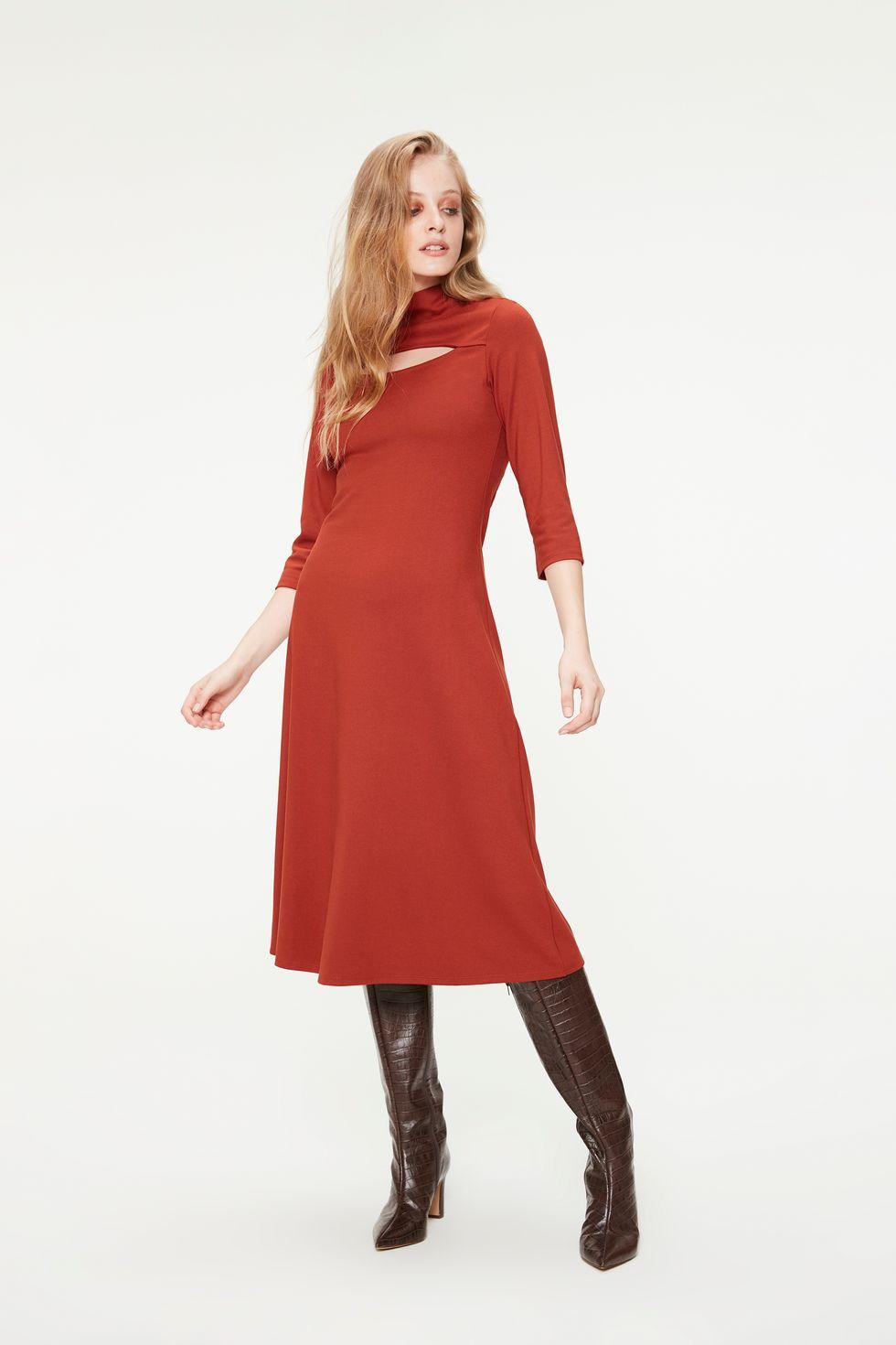 Vestido-Midi-Gola-Alta-com-Mangas-3-4-Frente--