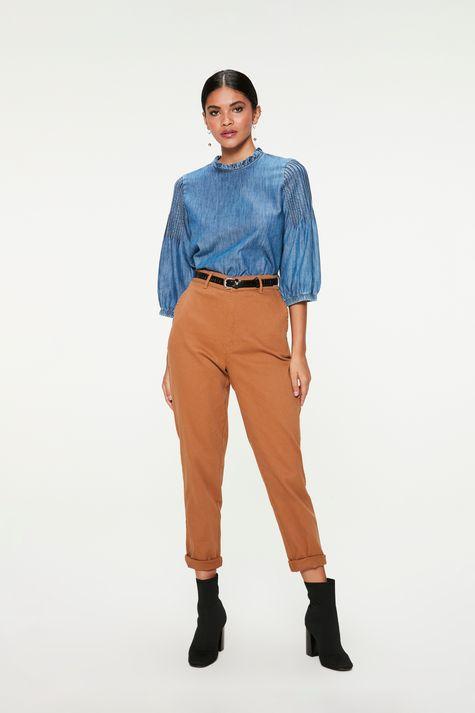 Blusa-Jeans-com-Mangas-3-4-Bufantes-Detalhe-1--