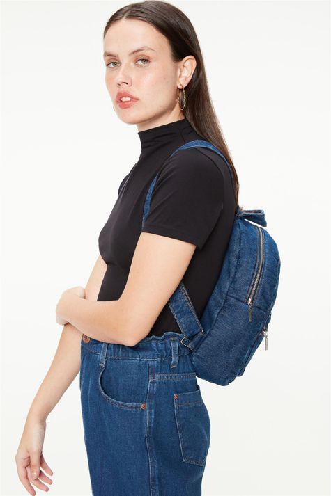 Mochila Jeans com Matelassê-Costas--