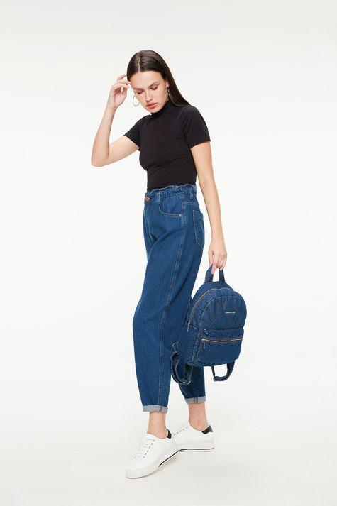Mochila Jeans com Matelassê-Detalhe--