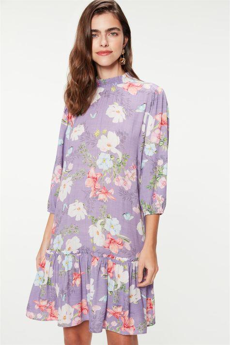 Vestido-Medio-Mangas-3-4-Estampa-Floral-Frente--