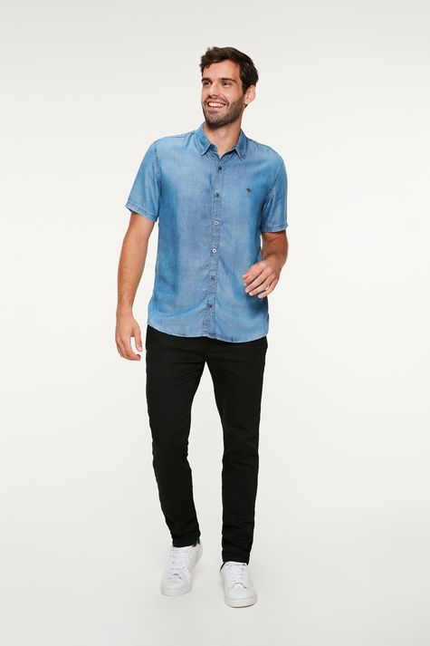 Camisa-Jeans-Clara-Manga-Curta-Masculina-Detalhe-2--