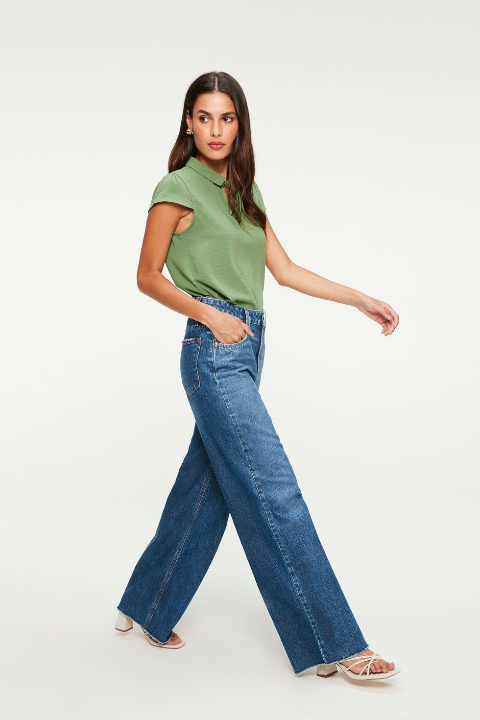 Calça Jeans Wide Leg Cintura Super Alta Tam: 44 / Cor: MEDIA