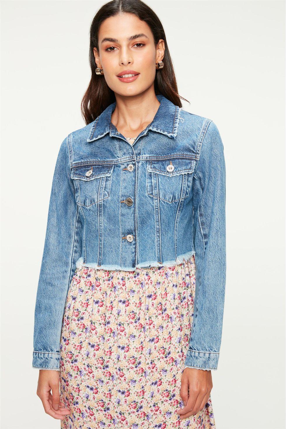 Jaqueta Jeans Azul Médio Cropped Tam: GG / Cor: MEDIA