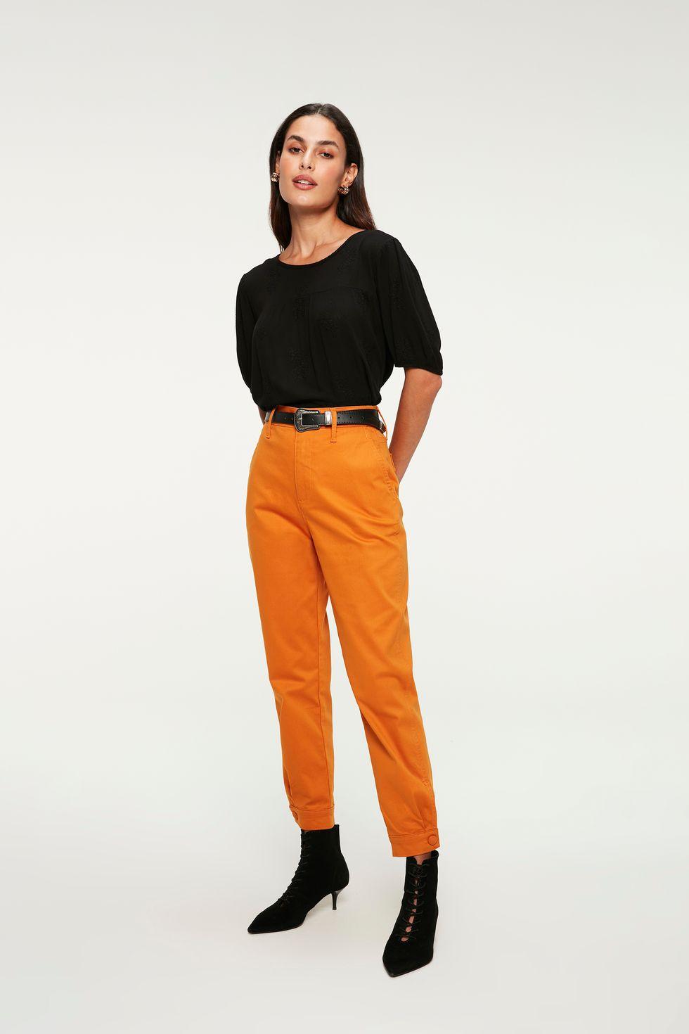 Calça de Sarja Carrot Cintura Alta Color Tam: 40 / Cor: LARANJA