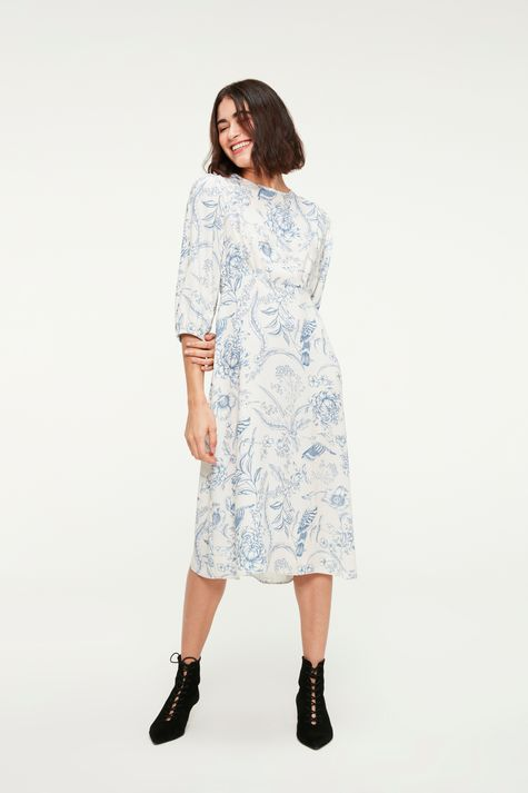 Vestido-Midi-Mangas-3-4-e-Estampa-Floral-Frente--