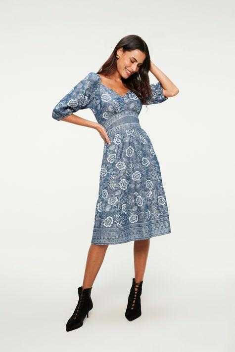 Vestido-Midi-Jeans-Leve-Estampa-Floral-Frente--