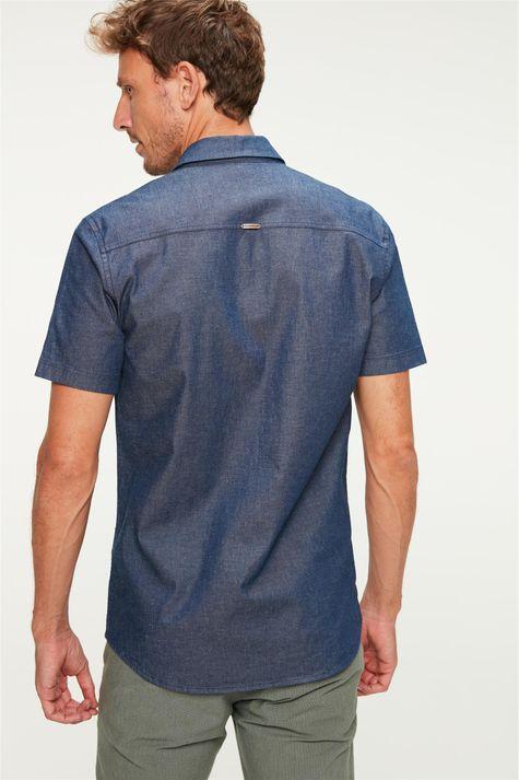 Camisa-Jeans-Escura-com-Mangas-Curtas-Costas--