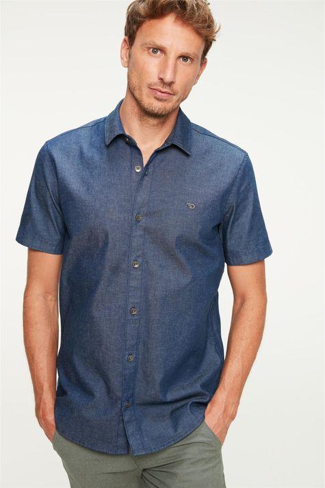 Camisa-Jeans-Escura-com-Mangas-Curtas-Frente--