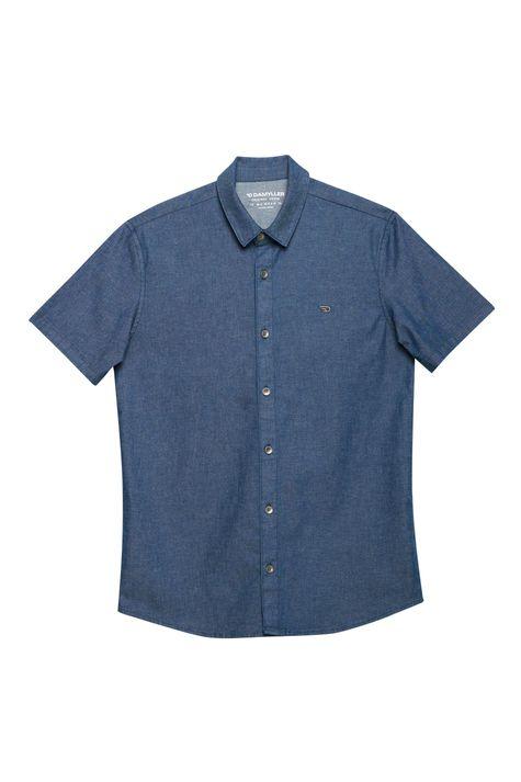 Camisa-Jeans-Escura-com-Mangas-Curtas-Detalhe-Still--